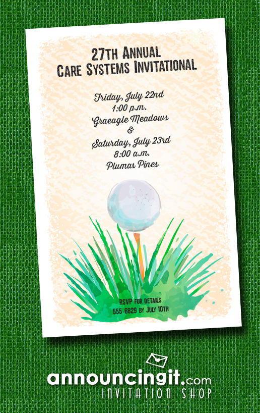 Watercolor Golf Ball Party Invitations at Announcingit.com