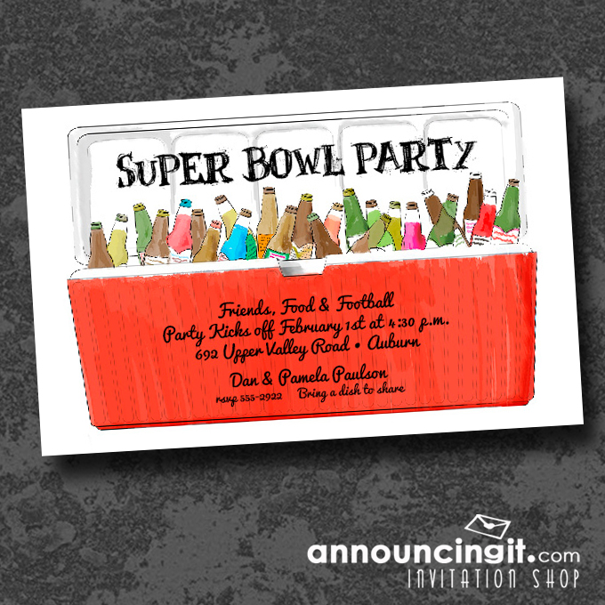 Red Ice Chest Super Bowl Party Invitations
