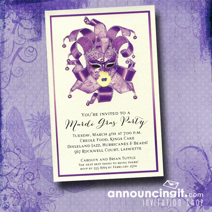 Shimmery Purple Venetian Mask Mardi Gras Party Invitations