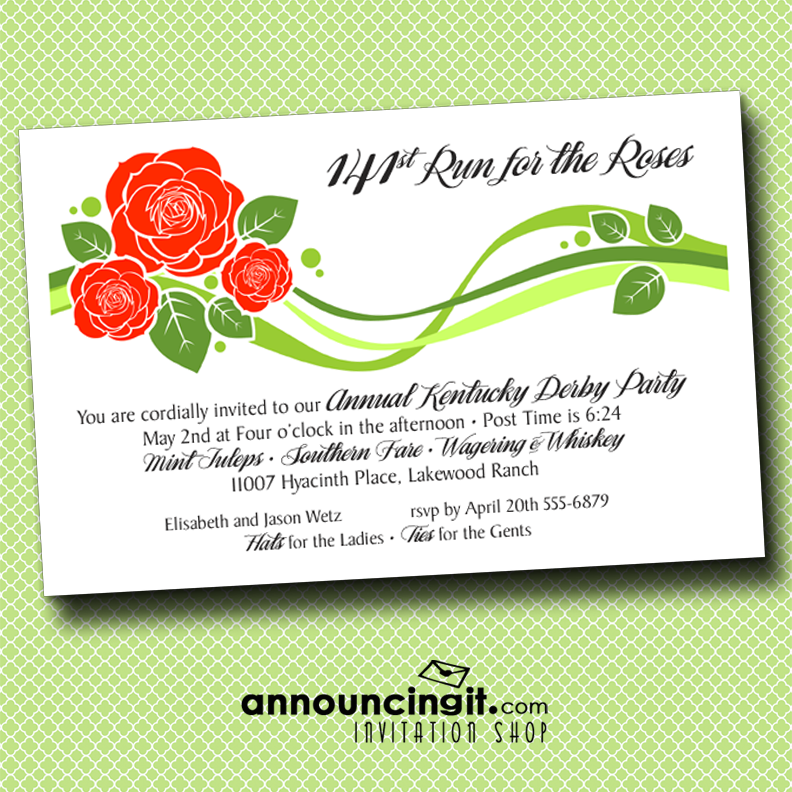 Stylized Roses Derby Party Invitations
