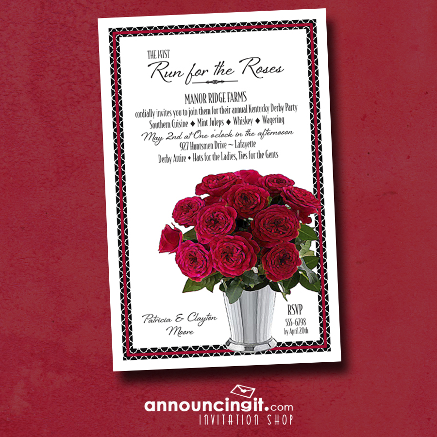 Julep Cup of Roses Kentucky Derby Party Invitations