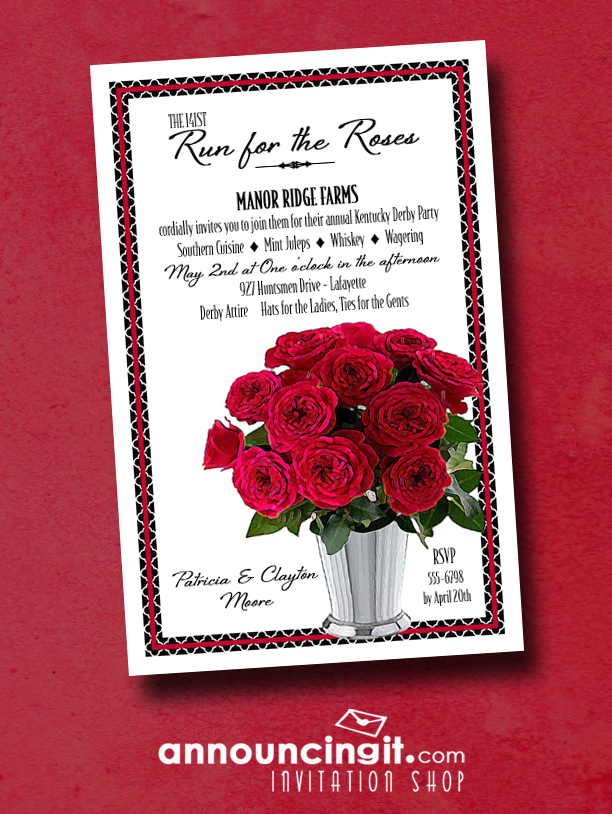 Mint Julep Cup of Red Roses Kentucky Derby Party Invitations from Announcingit.com