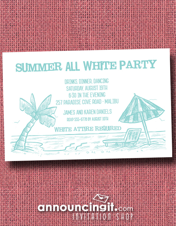 Beach Shoreline All White Party Invitations available at Announcingit.com