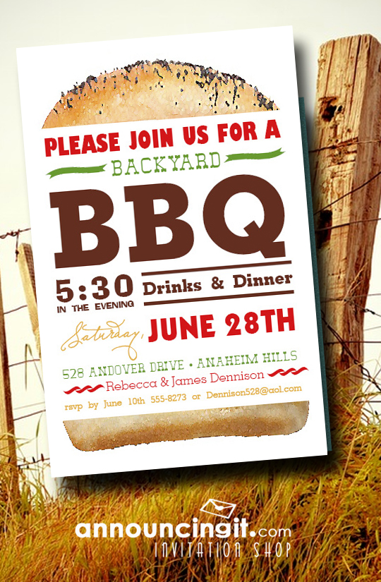 Billboard Hamburger BBQ Party Invitations at Announcingit.com