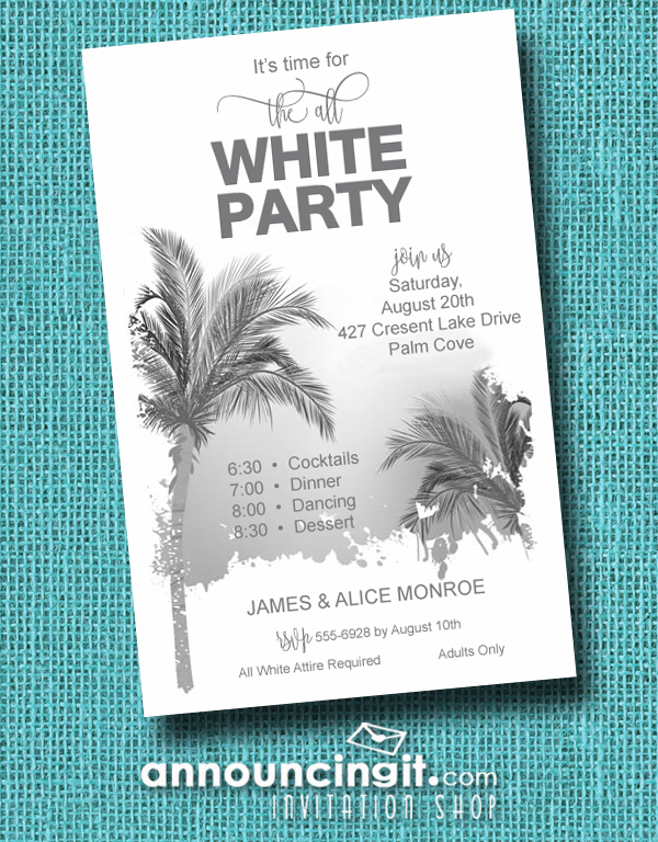 Palm Tree All White Party Invitations are perfect for birthday party invitations, summer party invitations and more. See all our designs at Announcingit.com