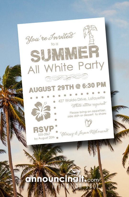 Summer White Party Invitations from Announcingit.com