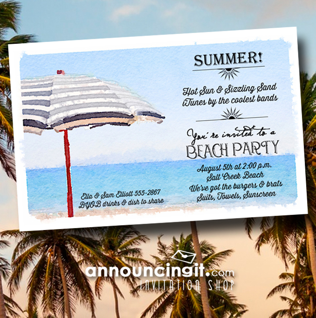 Striped Beach Umbrella Party Invitations from Announcingit.com