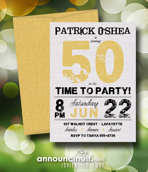 Shimmery Grunge Gold Birthday Party Invitations with shimmery envelopes - available in several colors at Announcingit.com