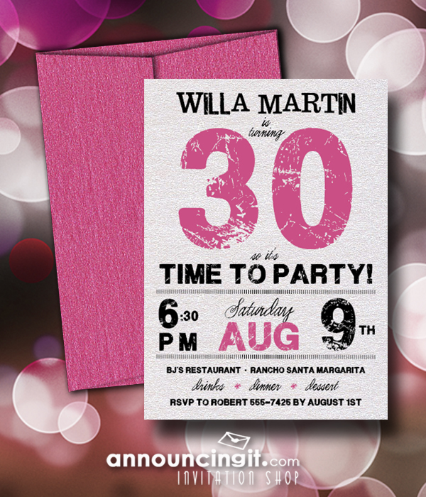Shimmery Grunge Hot Pink Birthday Party Invitations with shimmery pink envelopes - available in several colors at Announcingit.com