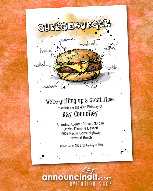 Make Mine a Cheeseburger Party Invitations are fun barbecue invitations for any occasion. Come see our entire collection at Announcingit.com