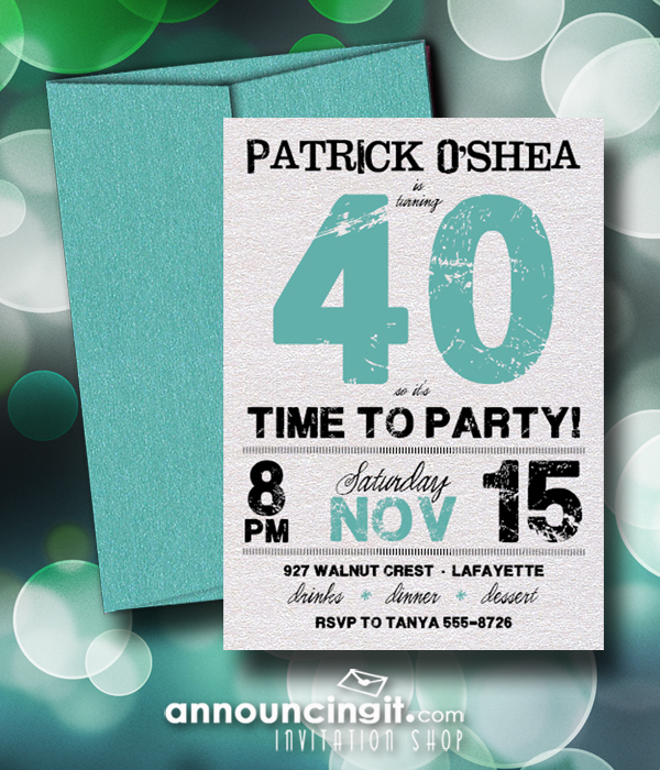 Shimmery Grunge Turquoise Birthday Party Invitations with matching shimmery turquoise envelopes - available in several colors at Announcingit.com