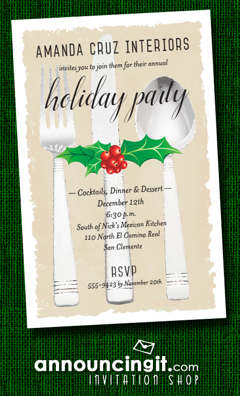 Holly & Berries on Flatware Holiday Christmas Party Invitations at Announcingit.com