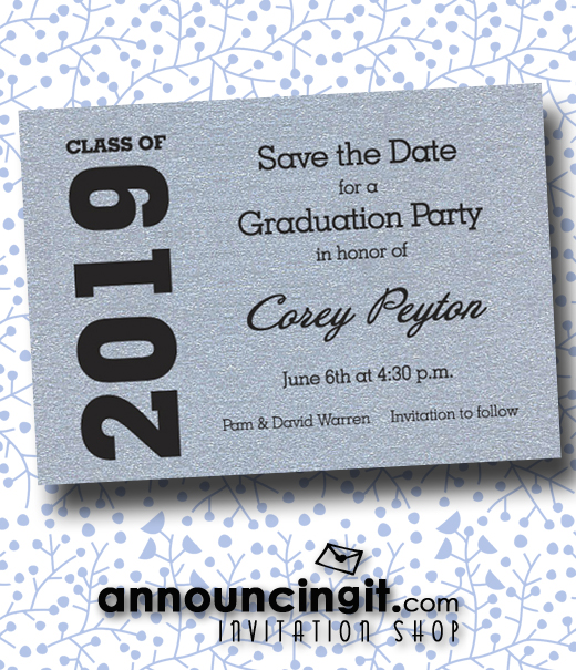 Shimmery Graduation Party Save the Date Cards at Announcingit.com