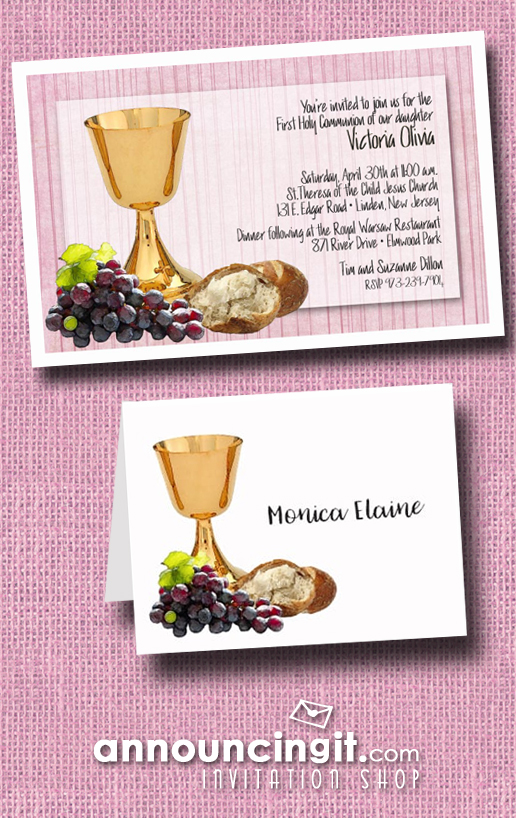 Chalice Grapes and Bread on Pink Girl's First Communion Invitations from Announcingit.com