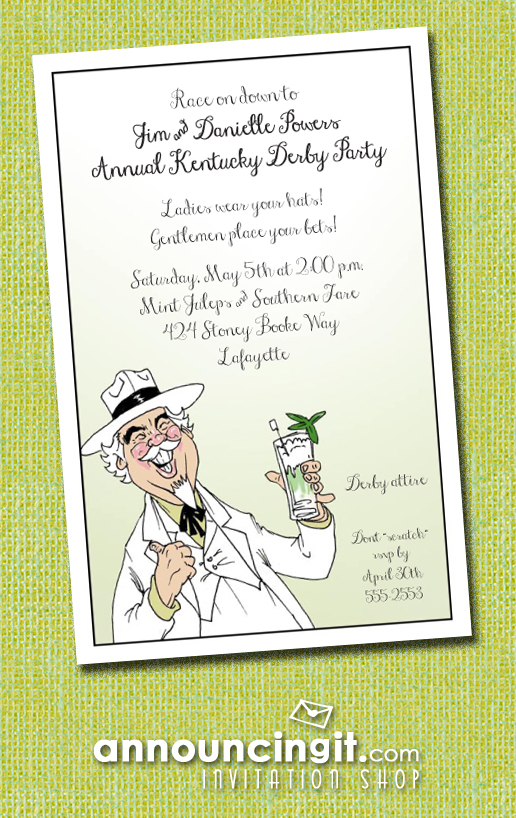 Southern Hospitality Kentucky Derby Party Invitations and Mint Julep Recipes | See the entire collection at Announcingit.com