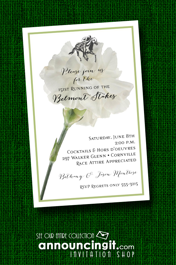 White Carnation Belmont Stakes Party Invitations | Announcingit.com