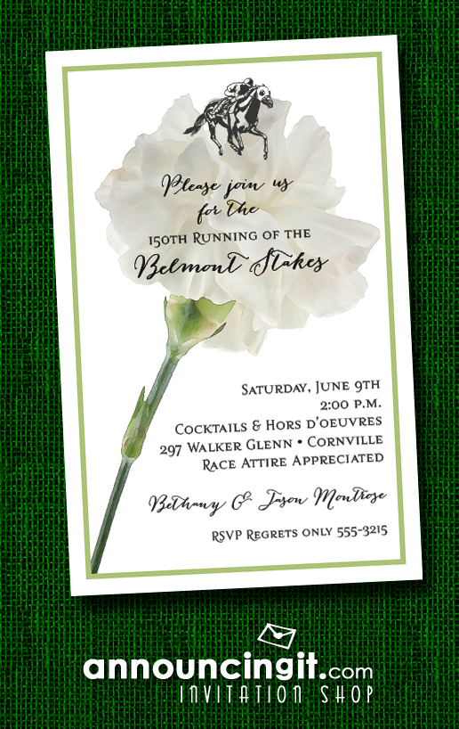 White Carnation Belmont Stakes Party Invitations at Announcingit.com