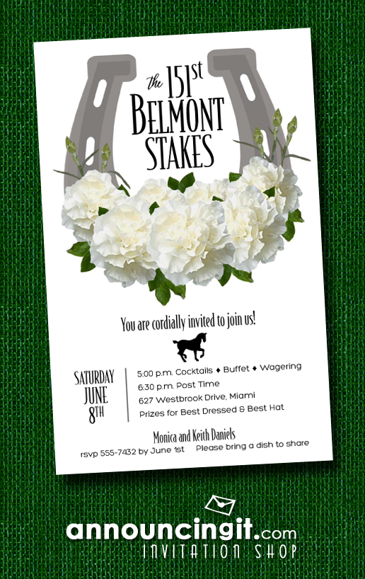 Horseshoe & White Carnation Belmont Stakes Invitations - Announcingit.com