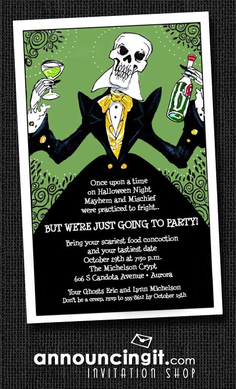 Elegant Skeleton Halloween Party Invitations at Announcingit.com