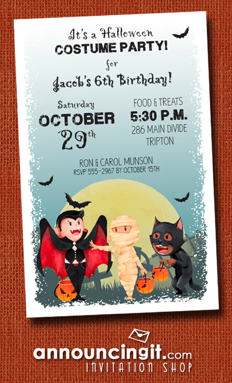 Little Trick or Treaters Halloween Party Invitations at Announcingit.com