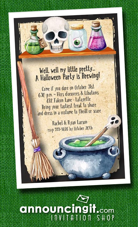 Witch's Workroom Halloween Costume Party Invitations at Announcingit.com