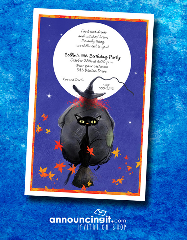 Witch and Cat Broomride Halloween Party Invitations