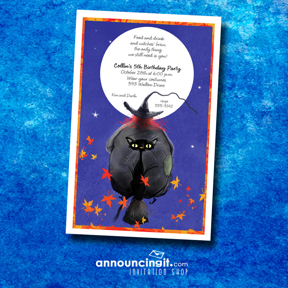 Witch and Cat Broomride Halloween Party Invitations available at Announcingit.com | Come see our entire invitation collection