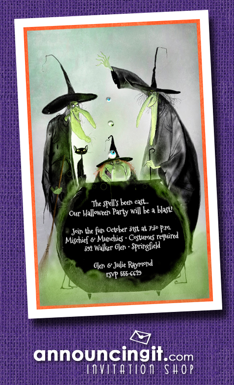 Witchy Trio Halloween Party Invitations at Announcingit.com