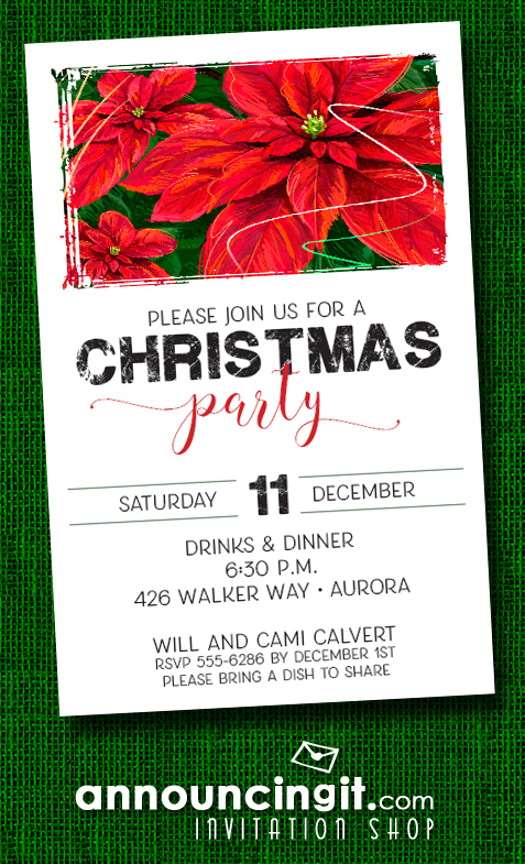 Red Poinsettias Holiday Christmas Party Invitations at Announcingit.com
