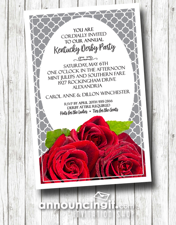 FreshRed Roses Kentucky Derby Party Invitations | Come see our entire Derby collection at Announcingit.com