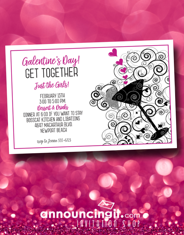 Galentine's Day Party Invitations - Get the Girls together, leave the dudes at home, and celebrate Valentine's Day with the girls!