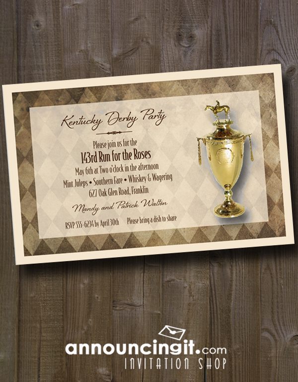 Exclusive unique Kentucky Derby Trophy Party Invitations - see the entire collection of Derby invitations at Announcingit.com