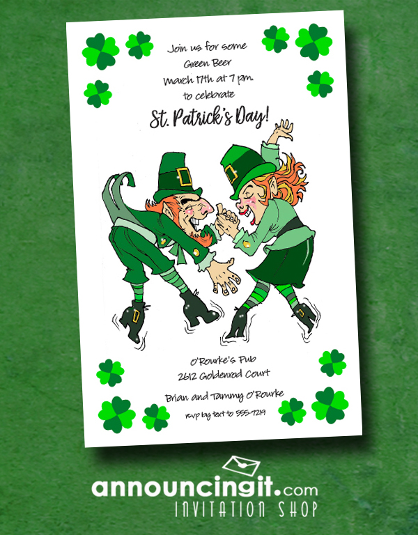 An Irish Leprechaun couple dance a lively jig on St. Patrick's Day on our Leprechaun Boogie St. Patrick's Day Party Invitations - perfect for any St. Patrick's Day celebration.