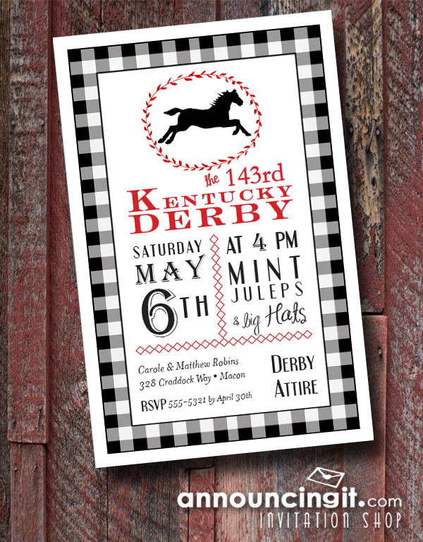 Black Check Horse & Laurel Kentucky Derby Party Invitations are the perfect way to invite guests to your Derby party. See our entire collection at Announcingit.com