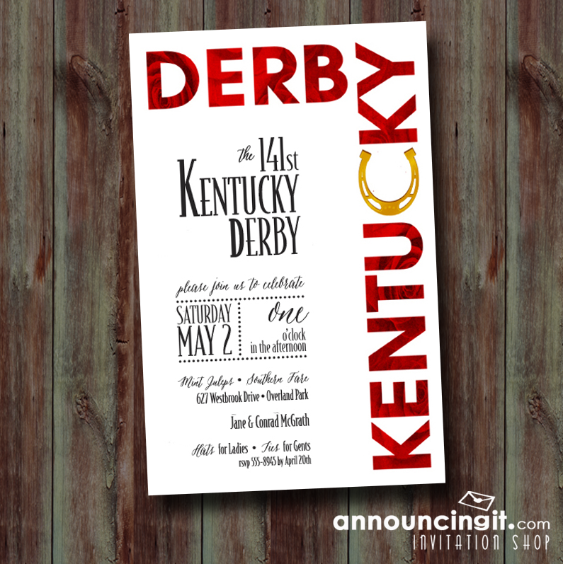 Roses and Horse Shoe Kentucky Derby Party Invitations are the perfect way to invite guests to your Derby party. See our entire collection at Announcingit.com