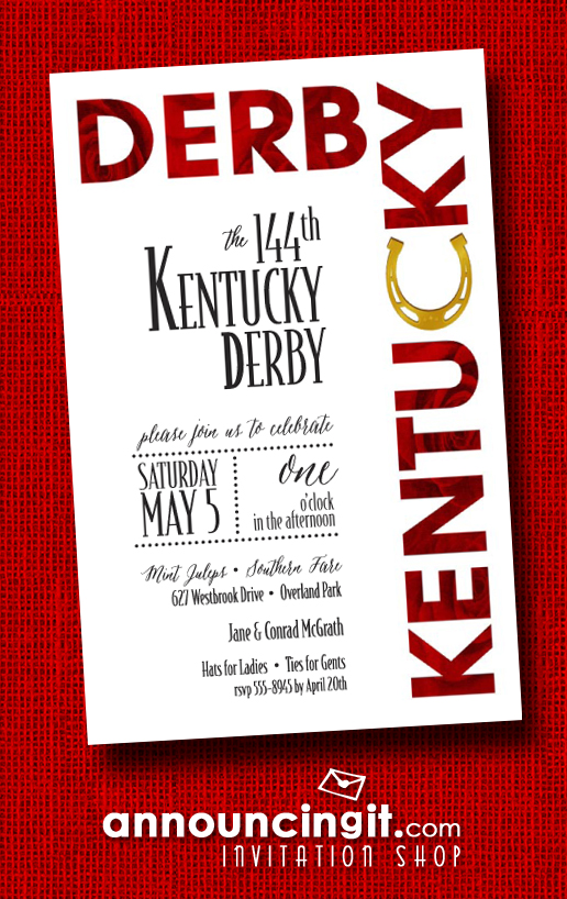 Roses and Horse Shoe Kentucky Derby Party Invitations