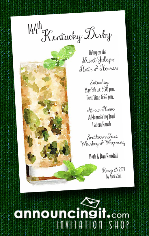 Tall Mint Julep Kentucky Derby Party Invitations.