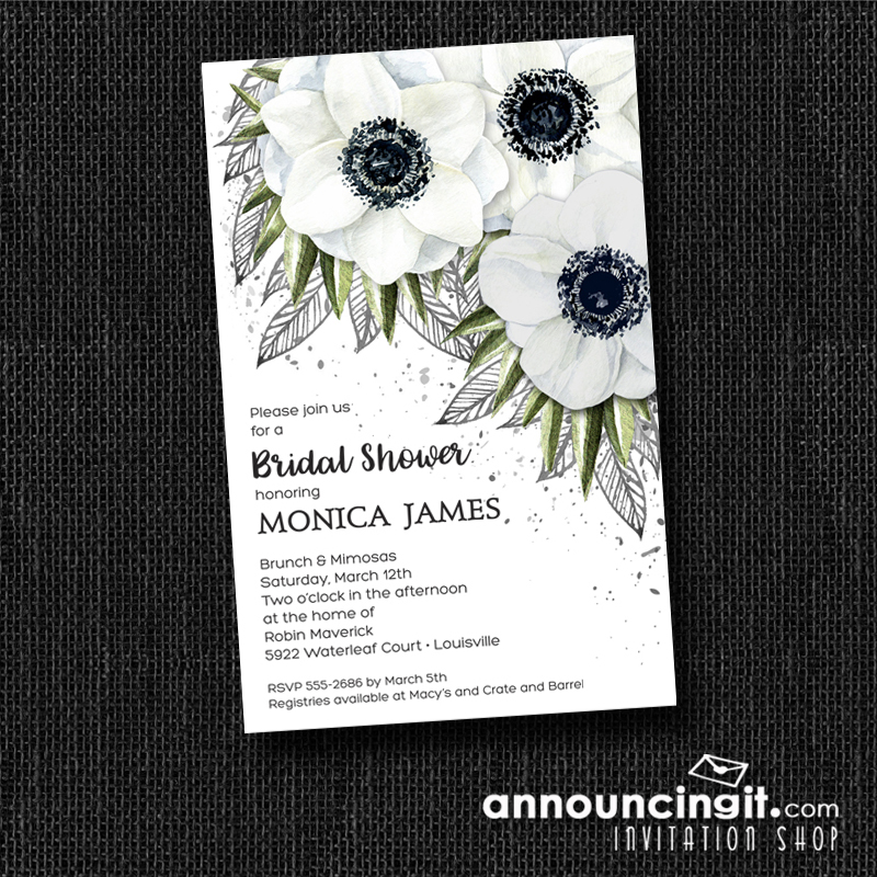 White Anemones Floral Party Invitations