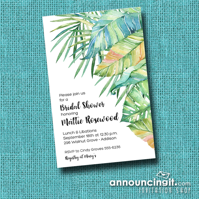 Tropical Leaves Party Invitations