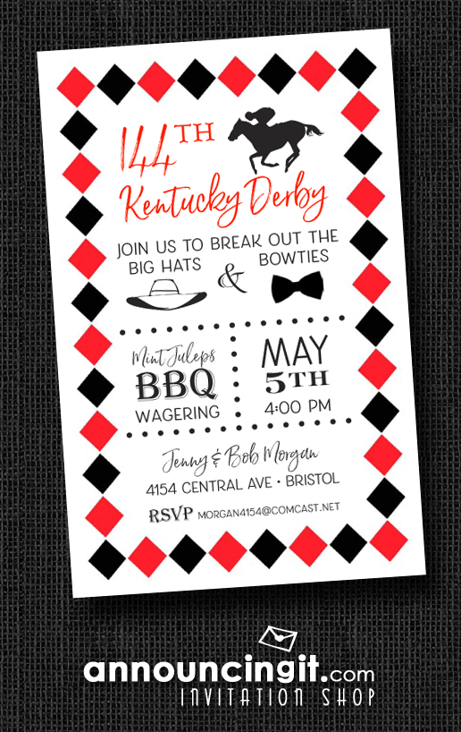 Derby and Diamonds Kentucky Derby Party Invitations