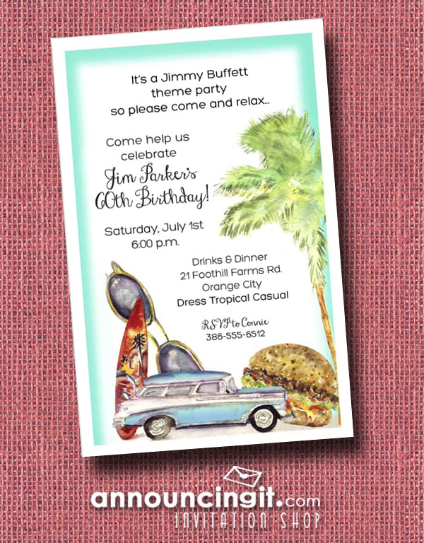 Cheeseburger, Woody, sunglasses, palm tree and surfboard are what we call our Cheeseburger Beach Party Invitation - a perfect choice for a surprise birthday party invitation, beach party, summer party invitation and more, just change the wording. See our entire collection of party invitations, save the date cards and more at Announcingit.com