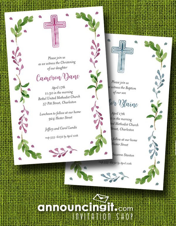 Pink or Blue Cross and Leaves Invitations for First Communion, Baptism or Christening Invitations | See more at Announcingit.com