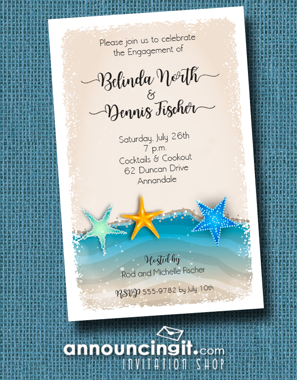 Starfish on the Shore Invitations perfect for engagement party invitations, tropical shower invitations, couples wedding shower invitations and more. See more at Announcingit.com