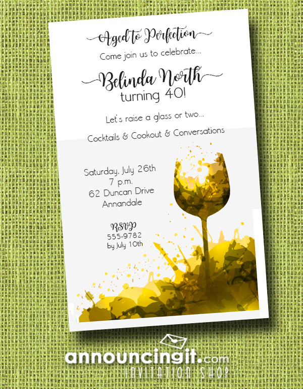 White Wine Glass Splash Party Invitations for birthday party invitations, wine tasting party invitations, retirement party invitations, wedding rehearsal dinner party invitations, engagement party invitations and more. See more at Announcingit.com