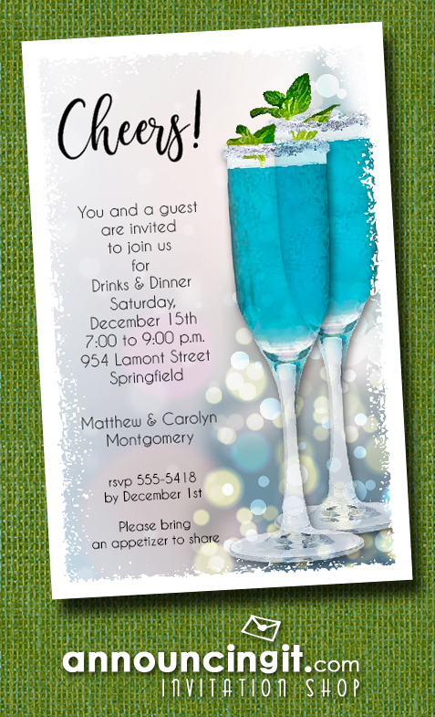 Blue Cocktails Holiday Christmas Party Invitations at Announcingit.com