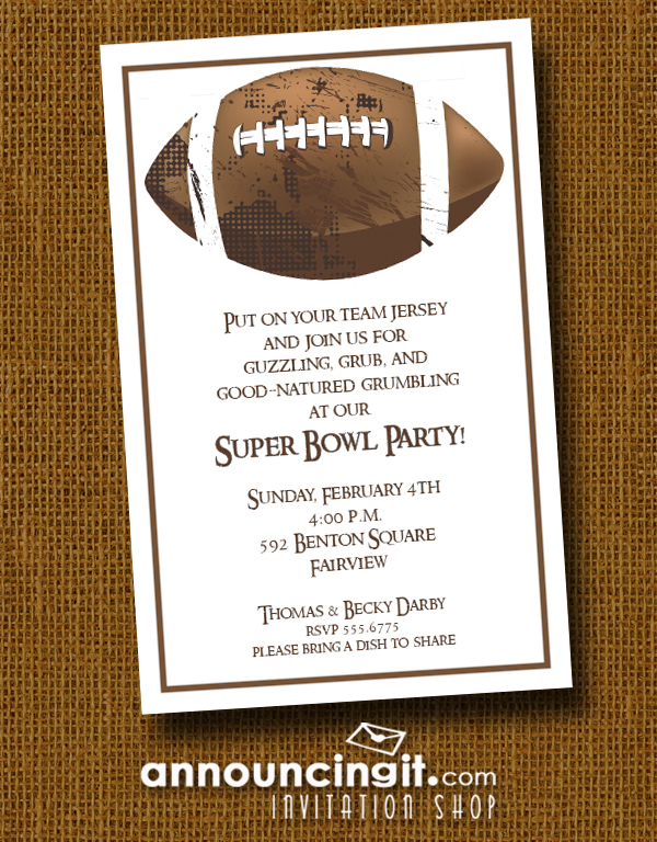 Brown Grunge Football Super Bowl Party Invitations at Announcingit.com