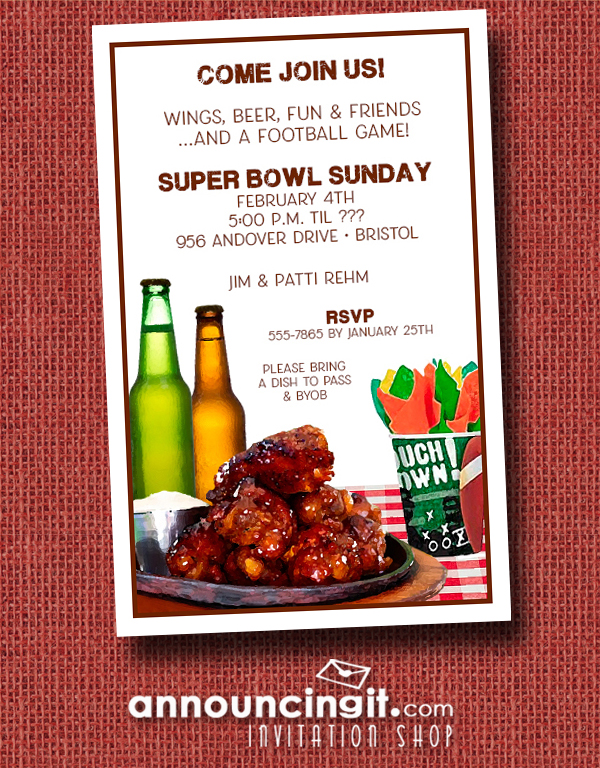 Buffalo Chicken Wings Super Bowl Party Invitations at Announcingit.com