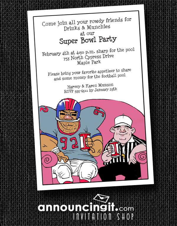 Couch Buddies Super Bowl Party Invitations from Announcingit.com