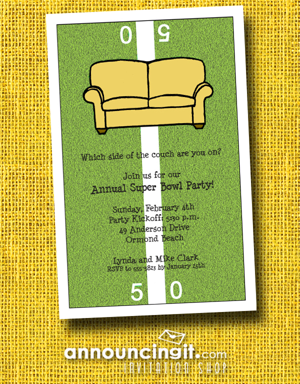 Fifty Yard Line Couch Super Bowl Party Invitations at Announcingit.com