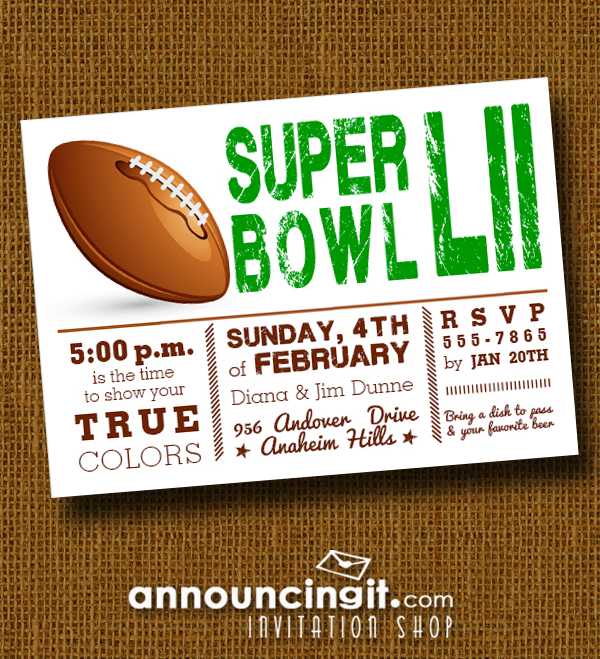 Football Super Bowl LII Party Invitations at Announcingit.com